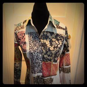Etro multi print button down shirt 44